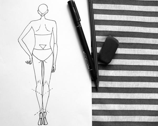 Female back pose fashion drawing lesson